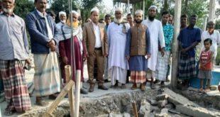 বগুড়ার সারিয়াকান্দিতে মুসলিম হ্যান্ডস ইন্টারন্যাশনাল বাংলাদেশ এর সহযোগিতায় মসজিদের নির্মাণ কাজ শুরু
